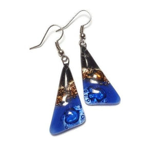 Black, Brown and Blue Triangle Earrings with Long drop Earrings. Recycled Fused Glass