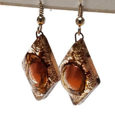 Caramel brown and copper  Earrings Diamond Shaped Earrings Recycled fused glass Earrings