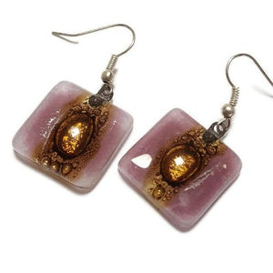 Lilac and Brown Square Fused Glass earrings. Drop Earrings. Recycled Glass Dangle Earrings