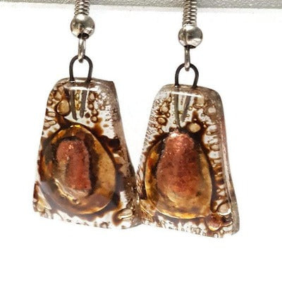 Copper pink and brown recycled fused glass earrings