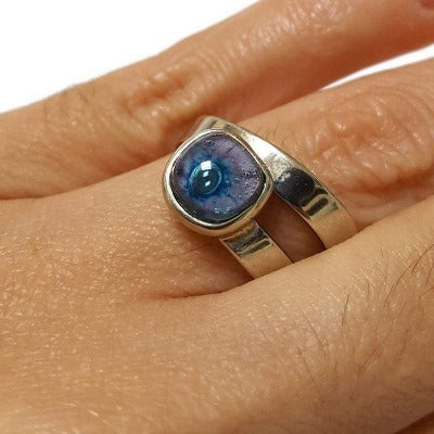 Handcrafted Ring. Alpaca Silver recycled fused glass adjustable ring. Blue & purple Bubbles. Unique gift. Thin band.
