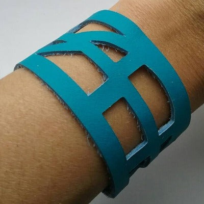 "Turquoise Reclaimed Leather ""Seld Empowering"" Wrist Band. Leather Bracelet. Leather Cuff. - Handmade Recycled Glass Jewelry"
