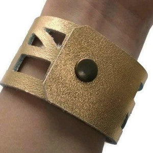 Golden The Good Luck, Self Empowering Bracelet.  Gold Leather Cuff bracelet. - Handmade Recycled Glass Jewelry