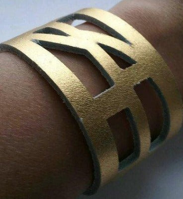 Golden The Good Luck, Self Empowering Bracelet.  Gold Leather Cuff bracelet.