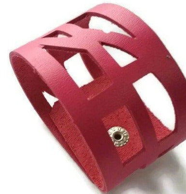 pink Reclaimed Leather wrist Band. The Self Empowering cuff Bracelet. Reurposed