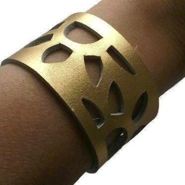 "Gold Color Reclaimed Leather Cuff Bracelet. Golden ""Sunflowers"" Leather Band - Handmade Recycled Glass Jewelry"