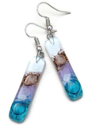 Pink , turquoise, lilac and  brown Recycled Fused Glass Drop  Earrings . Dangle Earrings. - Handmade Recycled Glass Jewelry