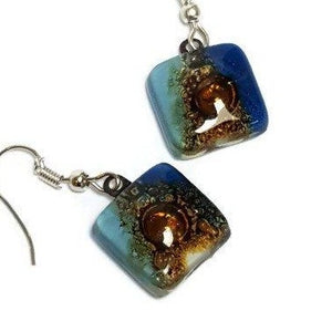 Small square Blue, white and Brown Earrings- Recycled fused Glass - Handmade Recycled Glass Jewelry