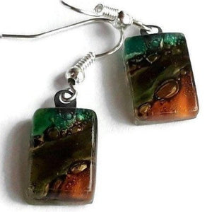 Small Teal, Green and Terracotta and Brown bars, Recycled Glass Drop earrings. Fused Glass - Handmade Recycled Glass Jewelry