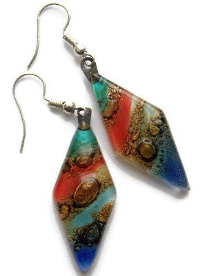 Long Diamond Shape multi color Recycled Glass Drop Earrings. Glass Dangle earrings - Handmade Recycled Glass Jewelry