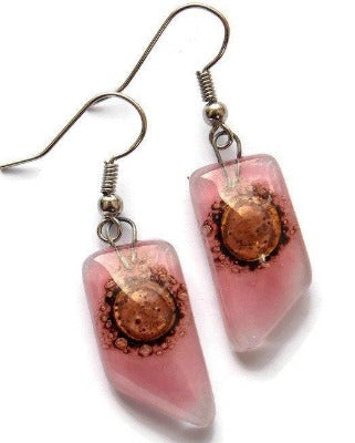 Pink and brown recycled fused glass geometric earrings. Eco-friendly jewelry Fused Glass - Handmade Recycled Glass Jewelry