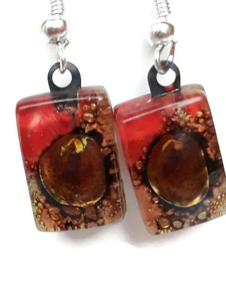 Small Red and Brown bars, Recycled Glass Drop earrings. Fused Glass Dangle Earrings - Handmade Recycled Glass Jewelry