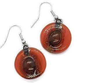 Red and Brown round dangle earring. Orangy red and a caramel Fused Glass Drop Earrings - Handmade Recycled Glass Jewelry