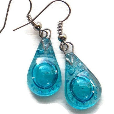 Small Aqua turquoise teardrop recycled Glass Earrings. Blue Fused Glass Earrings