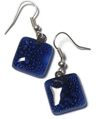 Small Square Dark Blue fused glass earrings. Handmade Recycled Glass dangle earrings. - Handmade Recycled Glass Jewelry