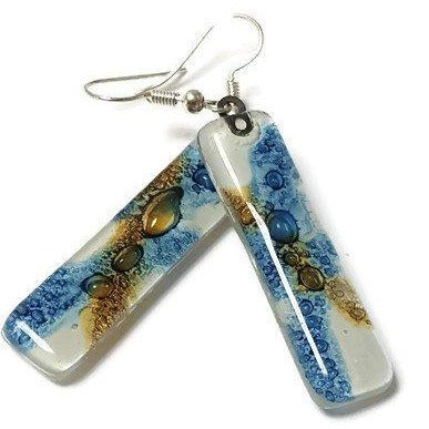 Long Glass Earrings. Recycled fused glass. Recycled glass jewelry  White, Blue and Brown - Handmade Recycled Glass Jewelry