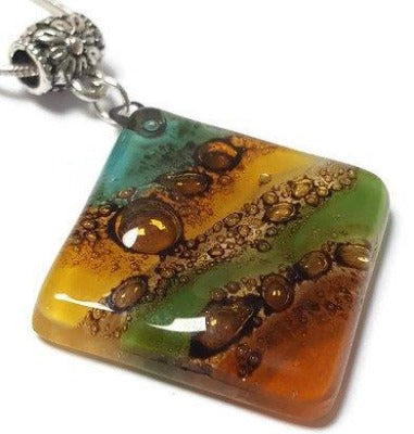 Multicolor Recycled Fused Glass Necklace Green, Teal Beige, teracotta & Brown..!