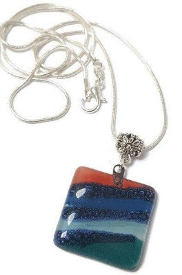 Teal, Blue and Red Fused Glass square Pendant. Recycled Glass Handmade Glass Bead. Handmade necklace - Handmade Recycled Glass Jewelry