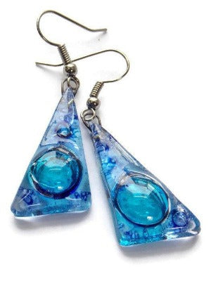 Blue Triangle Earrings with Long drop Earrings. Recycled Fused Glass dangle earrings - Handmade Recycled Glass Jewelry