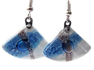 Fan Shaped White Blue and a purply color Recycled Glass Drop Earrings. Dangle Earrings - Handmade Recycled Glass Jewelry