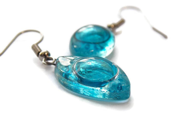 Blue Drop Earrings. Leaf Shaped Turquoise dangle earrings, Recycled Glass. Aqua earrings. - Handmade Recycled Glass Jewelry
