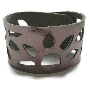 Gunmetal- Dark Silver Leather Cuff Bracelet. Reclaimed Leather wrist band. Sunflower bracelet. - Handmade Recycled Glass Jewelry