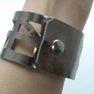 Silver Metallic Reclaimed Leather Cuff Bracelet. Leather wrist Band - Handmade Recycled Glass Jewelry