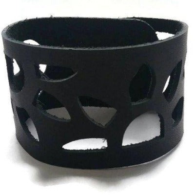 Sunflower Leather Band. Reclaimed Leather Wrist Cuff. Black  Bracelet - Handmade Recycled Glass Jewelry