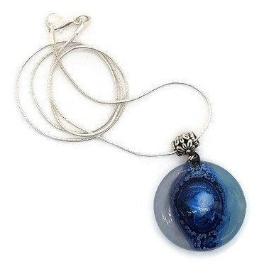 Lilac, baby blue and Blue round fused glass pendant. Recycled Glass necklace