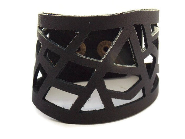 Black Leather Cuff.  Reclaimed Leather Bracelet. Black Barcelona Bracelet. Leather cuff bracelet - Handmade Recycled Glass Jewelry