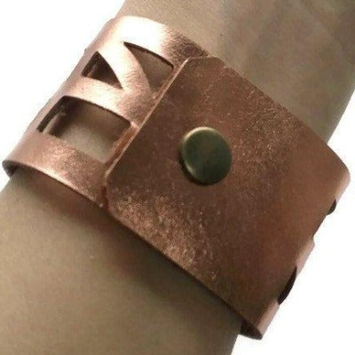 "Repurposed Leather Wrist band. ""self""empowering"" Copper Leather Cuff Bracelet - Handmade Recycled Glass Jewelry"
