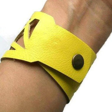 Yellow Barcelona Leather Cuff. Reclaimed Leather bracelet. Handcut in a Laser cutting style... - Handmade Recycled Glass Jewelry