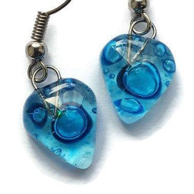 Small heart shapped blue fused glass drop Earrings. Turquoise Recycles Glass dangle Earrings.