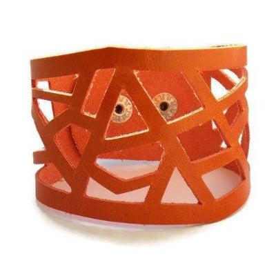 Leather Cuff. Orange Barcelona Leather cuff. Reclaimed Leather. Leather wrist band. - Handmade Recycled Glass Jewelry