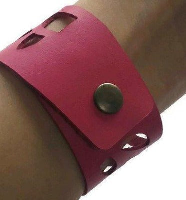 Pink Sunflower Wrist Band. Reclaimed Fucsia  Leather Cuff Bracelet