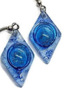 Glass Earrings Blue Diamond Shaped Earrings Recycled fused glass Earrings