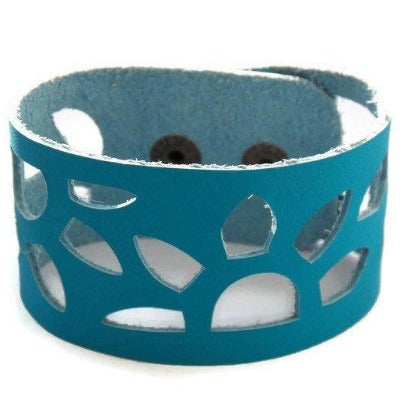 Turquoise Leather Wrist Band. Sunflowers Bracelet. Reclaimed Leather Cuff Bracelet - Handmade Recycled Glass Jewelry