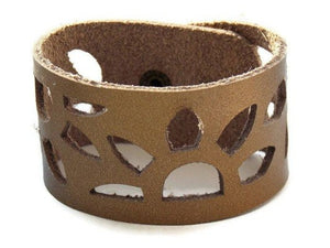 Bronze color Reclaimed Leather Cuff Bracelet. Sunflowers Leather wrist band - Handmade Recycled Glass Jewelry
