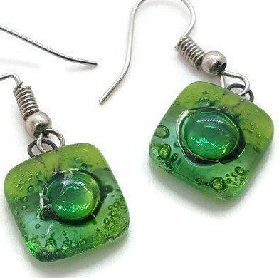 Small Green Square Fused Glass  Dangle Earrings. Recycled Glass Drop earrings - Handmade Recycled Glass Jewelry