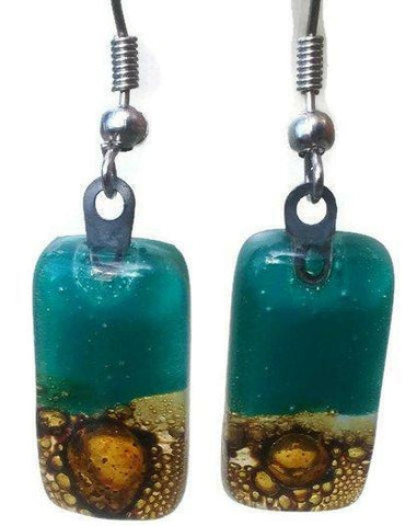 Teal and Caramel earrings - Handmade Recycled Glass Jewelry