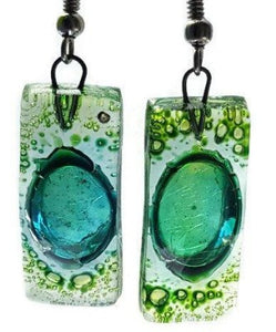 Recycled Glass Green Earrings perfect for the spring! - Handmade Recycled Glass Jewelry