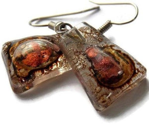 Copper pink and brown recycled fused glass earrings - Handmade Recycled Glass Jewelry