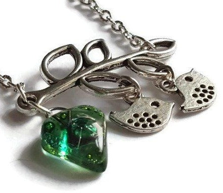 Green Recycled Glass Bead, Family Pendant. Bird Necklace. Recycled Glass Jewelry .