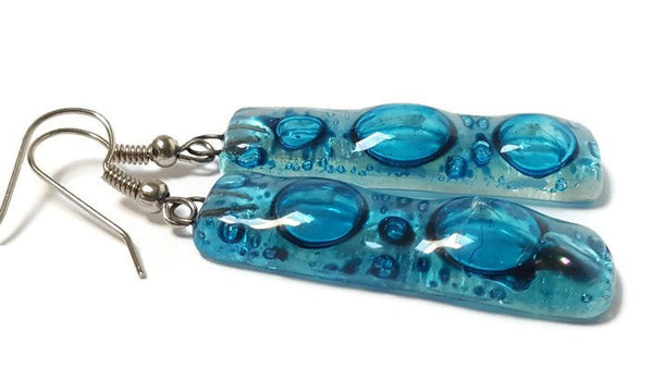Turquiose long earrings. Lots of  bubbles. Recycled Fused Glass Dangling earrings - Handmade Recycled Glass Jewelry