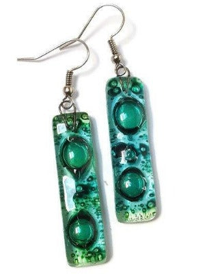 Green long earrings... Lots of  bubbles. Recycled Fused Glass Dangling earrings