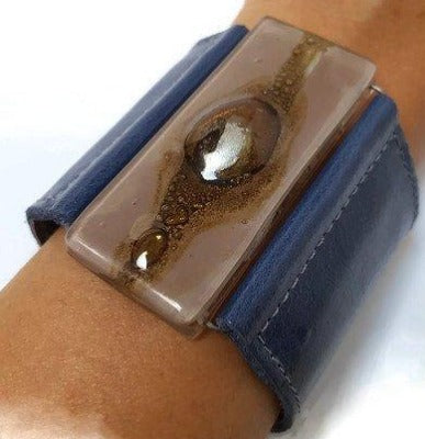 Leather and Glass Cuff Bracelet. Wide Leather Cuff.. Taupe, Brown and Blue leather wide Bracelet - Handmade Recycled Glass Jewelry