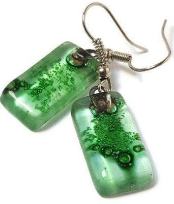 Green Small Rectangular Recycled Glass Drop Earrings. Fused Glass Dangle earrings - Handmade Recycled Glass Jewelry