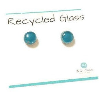 Small Post Teal Earrings. Fused Glass Studs. Recycled Glass jewelry. Stud earrings - Handmade Recycled Glass Jewelry
