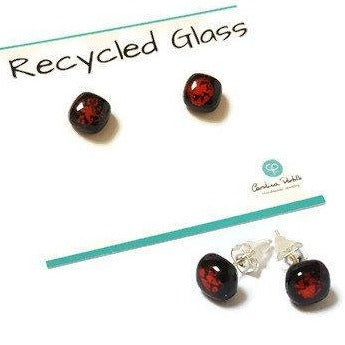 Small Post Black and Red Earrings. Fused Glass Studs. Recycled Glass jewelry. Stud earrings