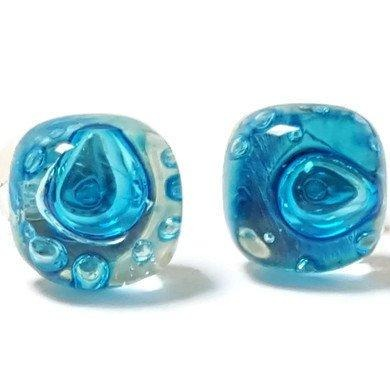 Small Post Turquoise Earrings. Fused Glass Studs. Recycled Glass jewelry. Stud earrings - Handmade Recycled Glass Jewelry